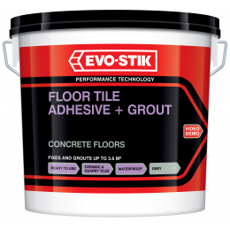 Floor tile adhesive and grout for concrete floors