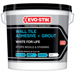 Wall tile adhesive and grout white for life